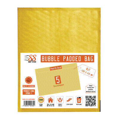 Smart n Secure   SnS Gold Bubble Padded Bags K/7 350mm x 470mm, Pack of 5