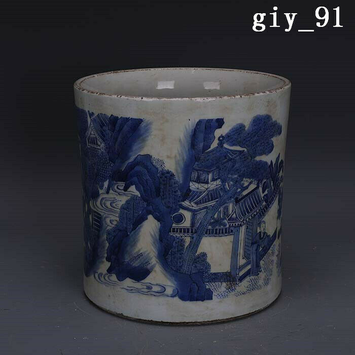 China  Ming Dynasty  Blue and white  Character story pattern  pen container