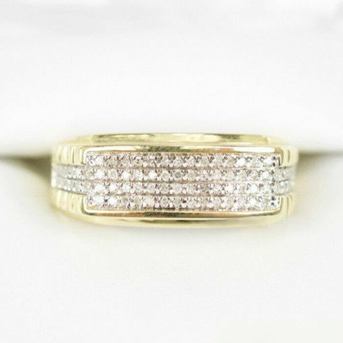 Mens Diamond Wedding Band Engagement Pinky Ring 14K Yellow Gold OverRound 1.50Ct