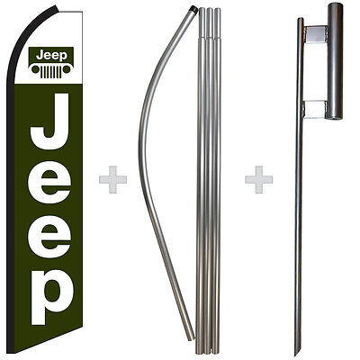 Jeep 15 Tall Swooper Flag Pole Kit Feather Super Bow Banner