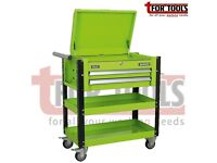 Sealey AP760MHV Heavy-Duty Mobile Tool & Parts Trolley 2 Drawers & Lockable Top - Hi-Vis Green
