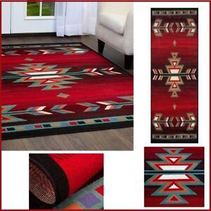 Aztec Runner Rug Southwestern Red Black Turquoise/Green Arrow Accent Floor Carpe