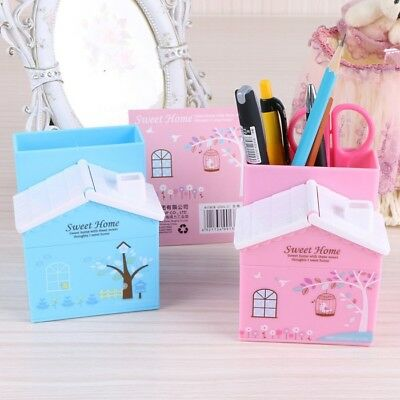 Pen Holder Pencil Stand Desk Organizer Stationary Storage Box Study Pink Blue