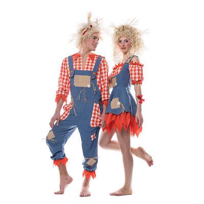 Damen-Kostüm Vogelscheuche rot-blau Vogelschreck Strohpuppe     ()