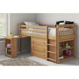 Brand New Windermere Solid Pine Mid Sleeper with Pull Out Desk