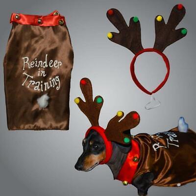 Navidad Perro Mascota Reno Disfraz Con Diadema Grande