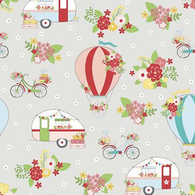 Riley Blake VINTAGE ADVENTURE Caravan Trailer Floral Balloon fabric - Grey
