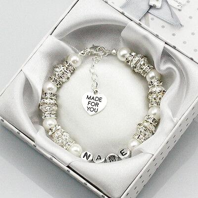 New Personalised Charm Bracelet Girls baby name Birthday wedding Gift With Box