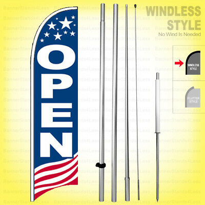 Open - Windless Swooper Flag Kit 15 Feather Banner Sign Usa Bb-h