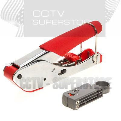 Compression Tool Coax Rg59 Rg6 BNC RCA F Connector Fitting Crimper Cable Kit