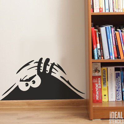 Schauender Monster Wand Schablone Spaß Dekor Farbe Wiederverwendbar keine Decal