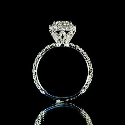 1.90ct Princess Diamond Pave Halo Flower Engagement Ring I/VS2 GIA Certified 1