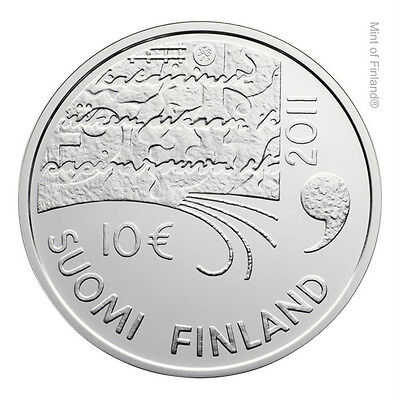"2011 Finland 10 Euro Silver Proof Coin ""Juhani Aho 150 Years"""