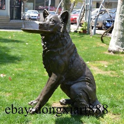 86 CM Western Art Deco Bronze Shepherd Dog Flying Saucer Sitting Room Sculpture