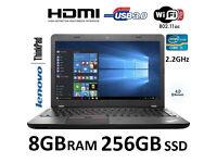 Lenovo E550 15.6 inch core i5 8GB RAM 256GB SSD Windows 10 Laptop 1 Year Warranty + Free Case