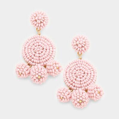 Designer Inspired Pink Beaded Triple Ball Statement Earrings
