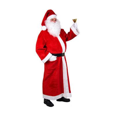 Herren-Mantel Santa aus Plüsch Einheitsgröße Nikolausmantel Weihnachtsmann  - Rote Plüsch Santa Kostüm