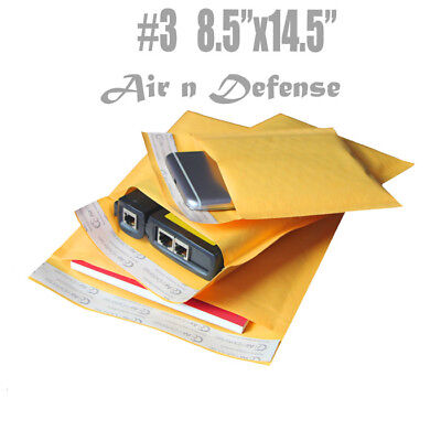 3 8.5x14.5 Kraft Bubble Padded Envelopes Mailer Yellow Shipping Bag Airndefense