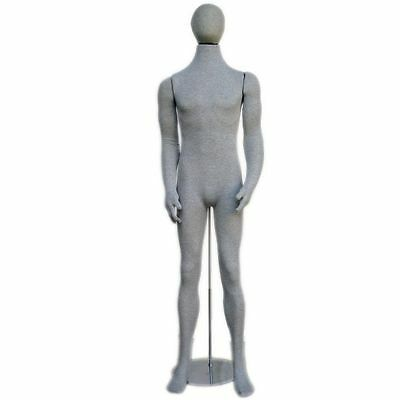 Mn-407 Grey Soft Flexible Bendable Posable Egghead Male Body Mannequin Form