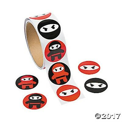 Roll of 100 Ninja Warrior Karate Stickers Kids Crafts Birthday Party Favors