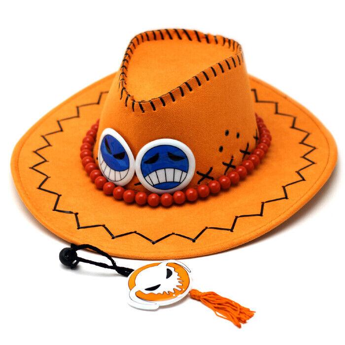One Piece Hut von Feuerfaust Puma D.Ace, Orange mit Perlenschnur & Smilies