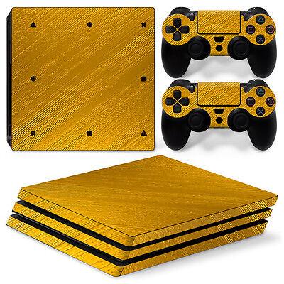 Sony PS4 Playstation 4 Pro Skin Aufkleber Schutzfolie Set - Gold Motiv