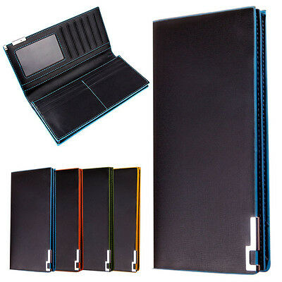 Mens Slim Bi-Fold flip Wallet Long Thin Wallet Male Money Purses Flip Up Wallet