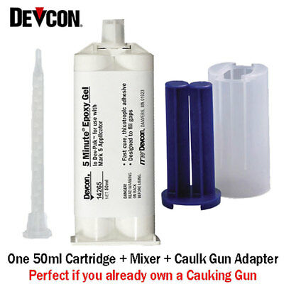 Devcon 5 Min Epoxy (Devcon 5-Min Epoxy Gel-14265-Fast Set No-Drip Epoxy-50ml With Caulk Gun Adapter)