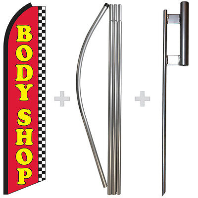 Body Shop 15 Tall Swooper Flag Pole Kit Feather Super Bow Banner