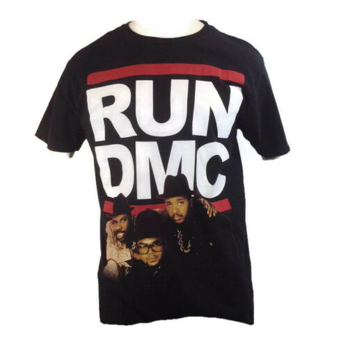 RUN DMC Mens Tee T Shirt Hip Hop Rap Retro Logo Music Vintage Rock Black NEW