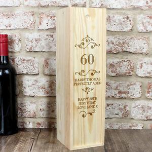 Personalised Age Year Wooden Wine, Whiskey, Spirit Bottle Presentation Gift Box