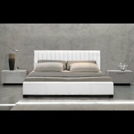 White Leather Double bed with Memeory foam Matress.