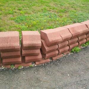 Red retaining wall stone