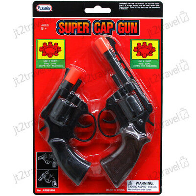 8 Ring Shot Cap Gun Police Series 2-Pack Pistol Revolver Black New Toy Replica - Revolver Toy