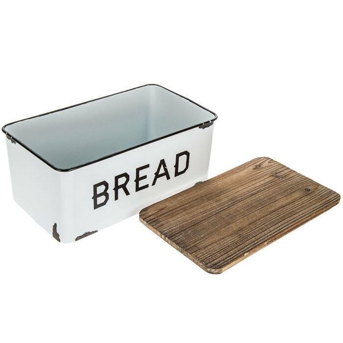 Retro Style Bread Box Farmhouse White Vintage Enamel Shabby Food Storage Chic