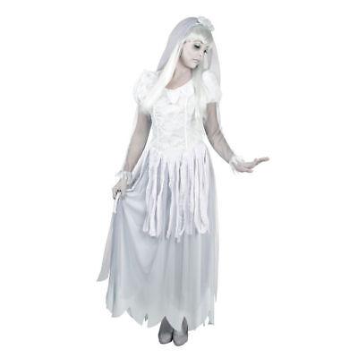 Damen-Kostüm Geister-Braut, weiß, Gr. 40-42 Halloween Bride Blutige Zombie