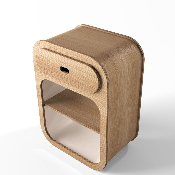 Oak Plywood Bedside Table By Unto This Last In Hampstead