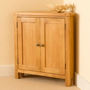 Lanner-Oak-Small-Corner-Cupboard-Sideboard-Rustic-Waxed-Two-Door-Cabinet