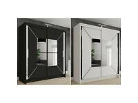 New 2 Door Mirrored Sliding Wardrobe ( black and white)