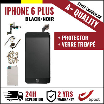 A+ LCD SCREEN SCHERM ÉCRAN ASSEMBLY BLACK NOIR + VERRE TREMPÉ FOR IPHONE 6 PLUS