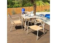 Metal Patio Table & 4 Chairs in Taupe