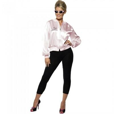 Pink Ladies Clothes (50's Pink Ladies Jacket Women Fancy Dress Costume Hen Party Clothing Adult)
