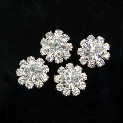 10 Pcs Silver Tone Crystal Rhinestone Flower DIY Embellishment Flatback - Craft Embellishments