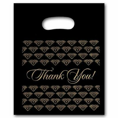 Medium Black Thank You Merchandise Plastic Retail Handle Bags 12 X 15 Tall