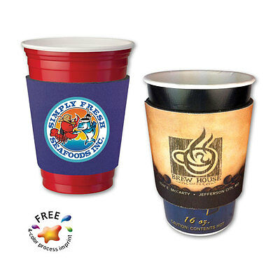 4/C PARTY CUP/COFFEE CUP SLEEVES - 250 quantity - Custom Printed with Your Logo