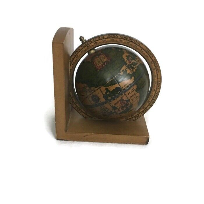 VNTG Old World Terrestrial Zodiac Desk Top Wooden Globe Zona Torrida  Italy Made