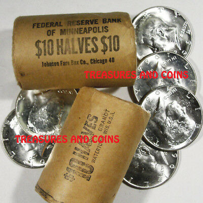 BU 1964 KENNEDY HALF DOLLARS-UNOPENED BANK ROLLS -ESTATE COINS HOARD TREASURE
