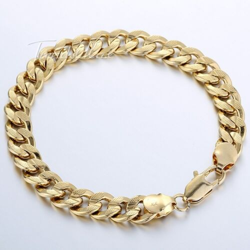 9mm 9inch Mens Chain Womens Hammered Curb Cuban Yellow Gold