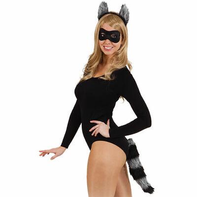 Waschbärkostüm Set mit Ohren, Maske und Schwanz, Tierverkleidung - Waschbär Ohren