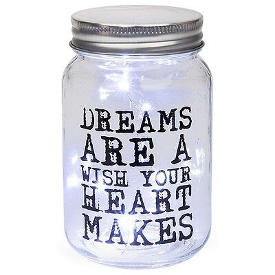 Dreams are a wish... LED Firefly Jar Glass Mason Style Bottle with Lid  - Wishing Fireflies